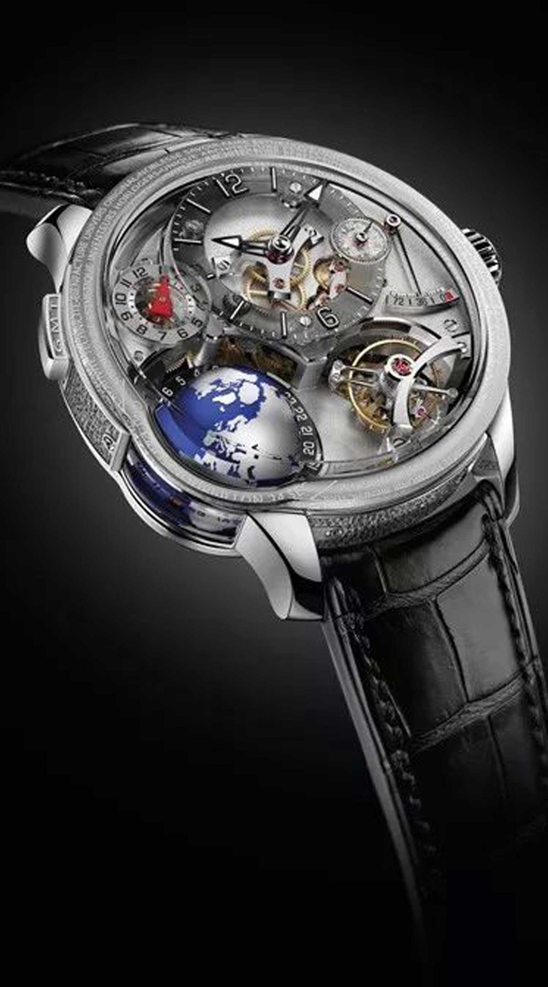 Onlylady2018SIHH高珀富斯GMT Earth腕表同时显示三个时区时间